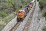 BNSF 6703 drags a freight up hill into Revere Mo.