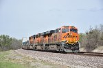BNSF 8156 Rounds the curve at Revere Mo.