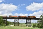 Stacks race over the trestle in Media IL.