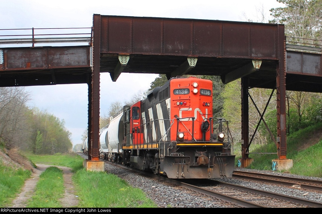 Eastbound under the bridge at Gobles Rd