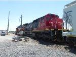 CN 2019 (C40-8) trails behind BNSF 5089
