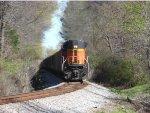 BNSF ACe shoving hard on the rear of a loaded coal train.