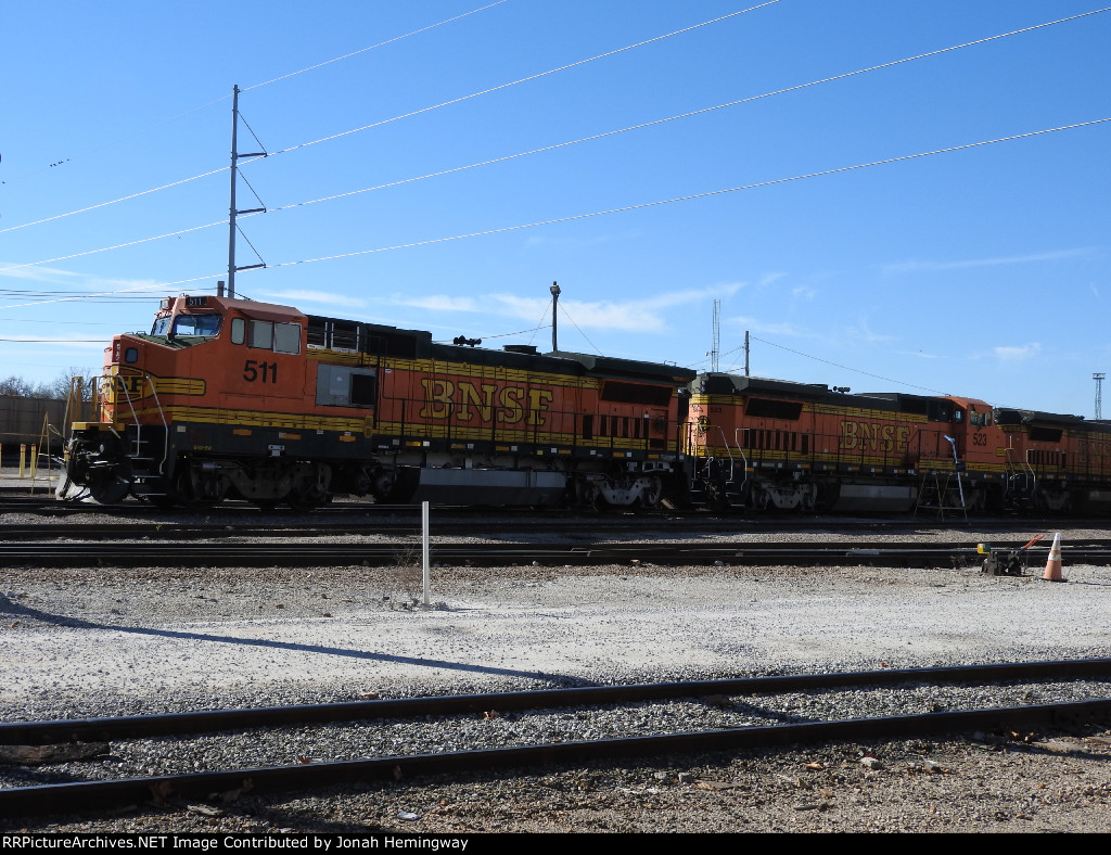 Three BNSF B40-8Ws Hooked Together, BNSF No. 511, 523, & 507