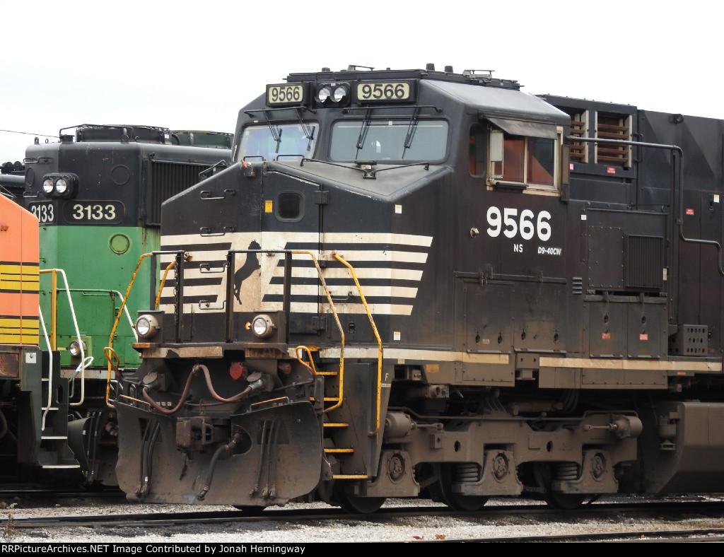 "NS ""Catfish"" Dash 9 No. 9566 Sitting In the BNSF yard"