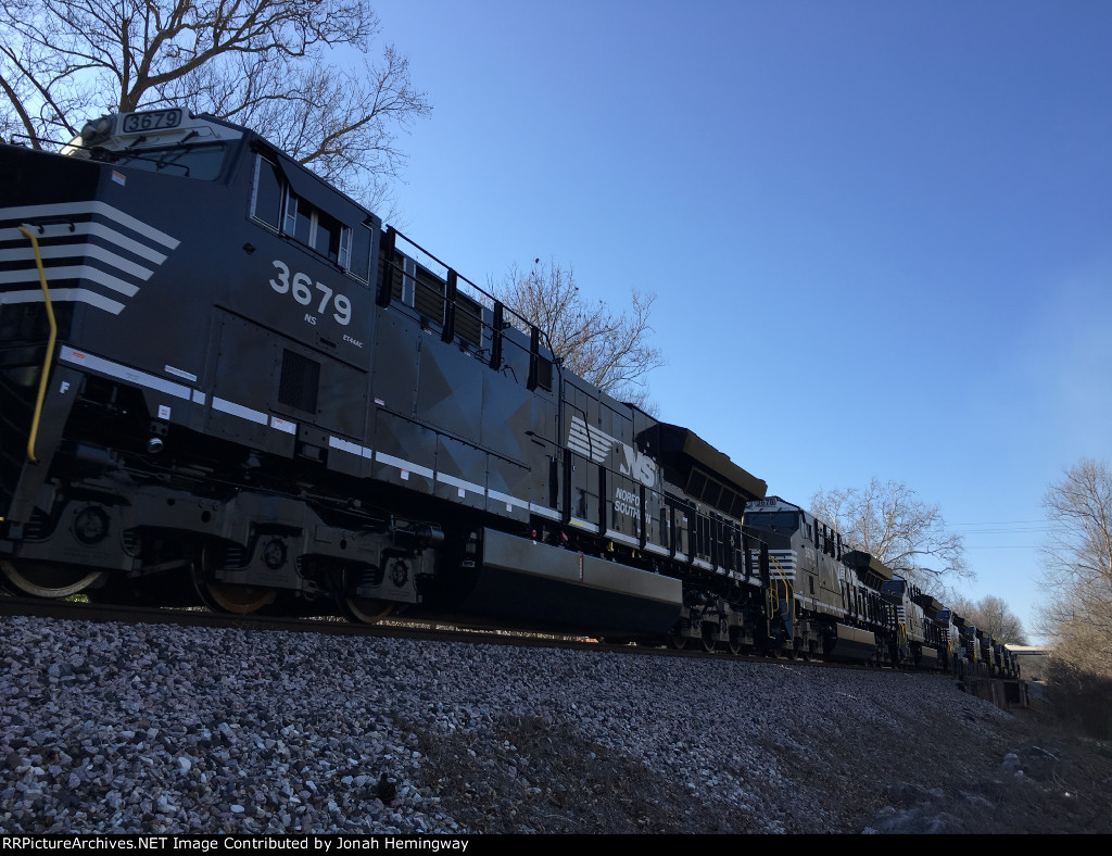 NS 3679 Trailing On An NS Tier IV Delivery Train