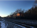 BNSF 5811 Pulling Train Through Turners, MO In The Snow