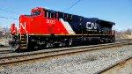 Lone CN# 3035 locomotive passing by the St-Lambert crossing