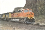 BNSF 7619 arriving at Celilo, Or.  March 15, 2006