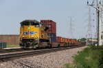 A single SD70AH provides the power for westbound containers