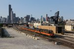 The Chicago skyline looms as 850, the Hoosier State, heads out of town