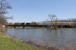 UP 6230 & 5447 roll north over the Kankakee River with mixed freight