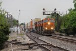 BNSF 6630 leads a westbound stack train from Corwith west under the old Santa Fe signals at Williamsfield