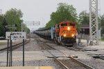 BNSF 8459 & 7841 roll west through the Galesburg B-Plant with an empty ethanol train