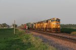 Four SD70M's lead ZG2OA west into the golden evening light