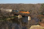 BNSF 7566 & CSX 7693 roll across the Rock River with V-PTLLPC