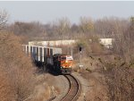 BNSF 3798 passes CP Polo as it leads Z-CHCSSE through the sweeping curves