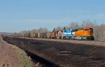 BNSF 8255 leading a coal loads through Boylston