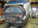An Acela power car with its nose removed