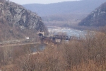 Bridge over Potomac River and entrance to Harpers Ferry tunnel. Photo taken from Hilltop Hotel