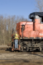 BLE 900 and conductor in North Bessemer yard