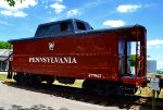 Cosmetically restored Pennsylvania RR caboose at S. Charleston, Ohio.