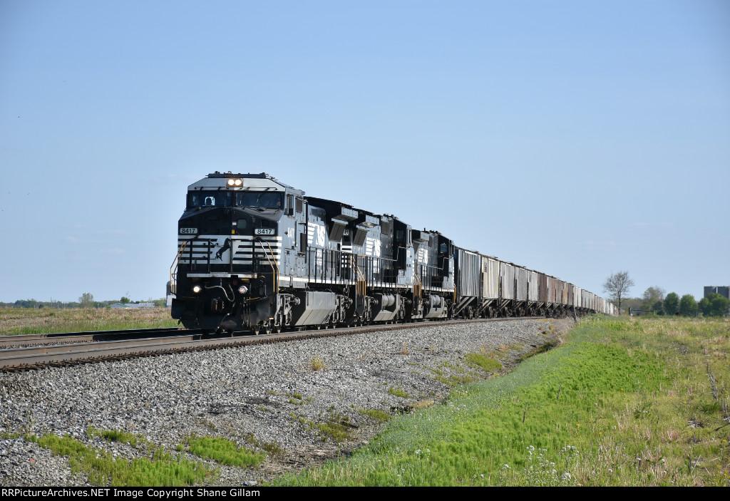 NS 8417 Races a empty grain north toward Bellevue Ohio.