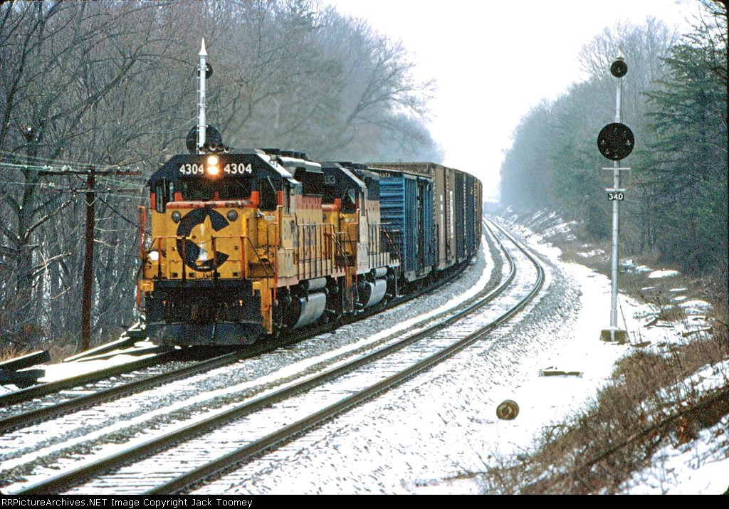A westbound at the MP 34 signals which were then about a half mile from the station.