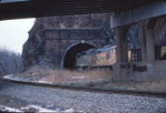 Empty coal train entering the tunnel