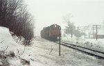Train in the winter fog