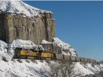 Coal Train passing cliffs