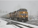 Grain Train Departing SLC in a Snow Storm