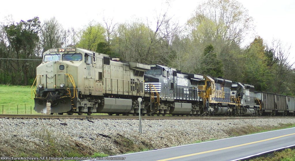 NS coal train #710 with a hodgepodge of power