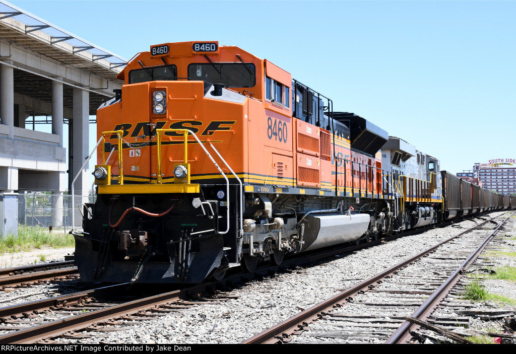 BNSF 8460 pushing coal