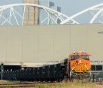 BNSF 8274 pushes an empty gravel train