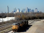 UP 7093 UP 4359 on the ready track, Miller Yard with Dallas Skyline