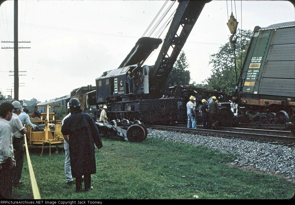 Seventeen car derailment which also demolished a house