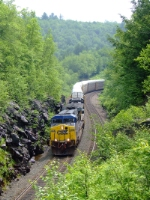 CSX 678 and 55 lead Q283 through the cut