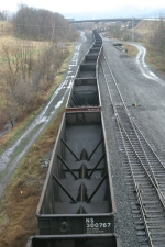 Empty Coal train pushed into siding