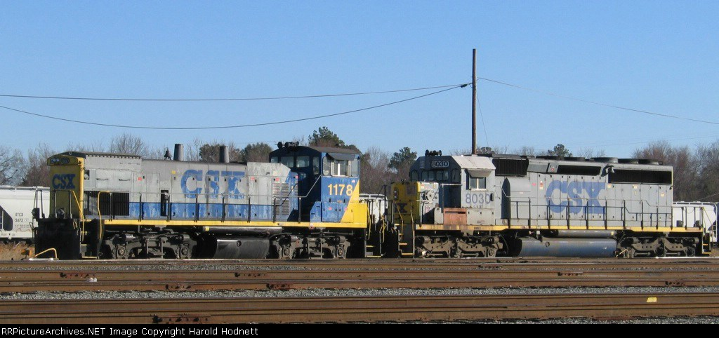 CSX 8030 & 1178 sit in the yard
