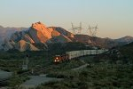 BNSF7260, BNSF7527 and BNSF3929 passing Mormon Rocks in the early morning