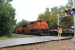 BNSF 9190 leading a loaded coal train through the California Crossing grade crossing