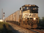 NS 9567 leads roadrailers of 256 east just after sunrise