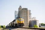 UP 8550 passes a grain elevator