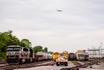 A Southwest plane flies overhead