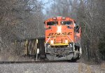 A BNSF coal train drops down the hill between Goreville and West Vienna