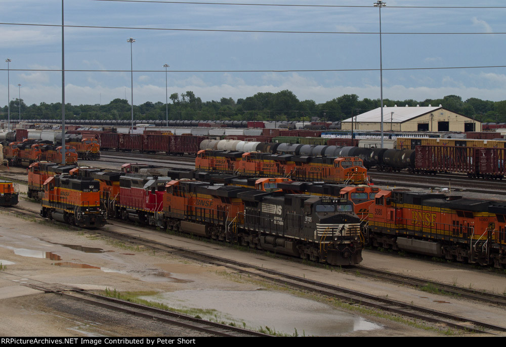 BNSF2021, NS9725, BNSF6594, LTEX2377, BNSF7056, BNSF5850 and others outside the Diesel Depot