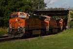 BNSF7400, BNSF7686 and BNSF4183 passing Peck Park