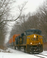 CSX 5294/SU 164 roll by in this late season nor'easter.