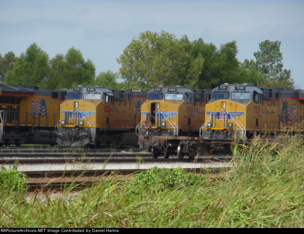 UP GE's parked at the fuel pad at Union Pacific's Marion Intermodal Yard