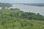 NS 1159 Drag's a loaded coal next to the Mississippi river in Hannibal Mo.